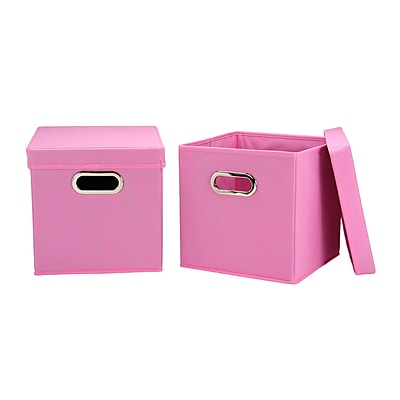 Household Essentials Storage Cubes with Lids, Pink