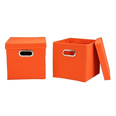 Household Essentials Storage Cubes with Lids, Orange