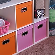 Household Essentials Storage Cubes with Lids, Orange (32-1)