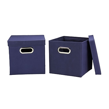 Household Essentials Storage Cubes with Lids, Navy