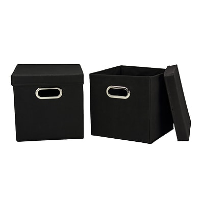 Household Essentials Storage Cubes with Lids, Black
