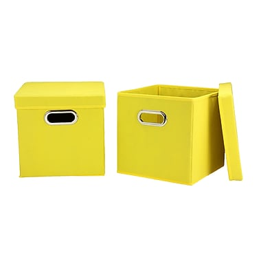 Household Essentials Storage Cubes with Lids, Yellow