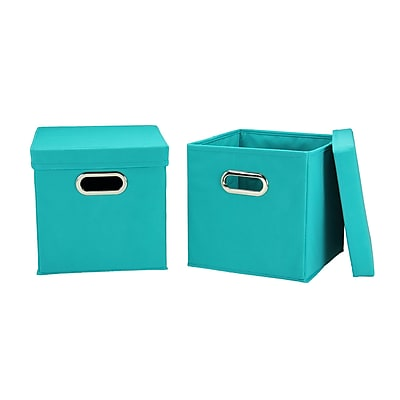 Household Essentials Storage Cubes with Lids, Aqua