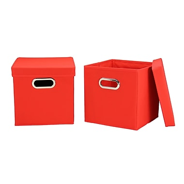 Household Essentials Storage Cubes with Lids, Red