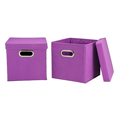 Household Essentials Storage Cubes with Lids, Purple