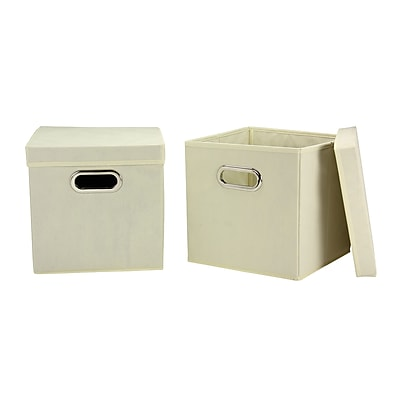 Household Essentials Storage Cubes with Lids, Natural