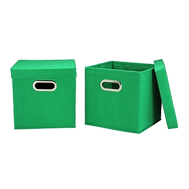 Household Essentials Storage Cubes with Lids, Kelly Green