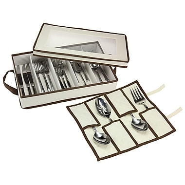 Household Essentials Flatware Storage Chest with Separate Serving Utensil Storage Pouch