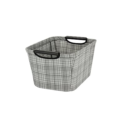 Household Essentials Tapered Storage Bin with Wood Handles, Grey plaid