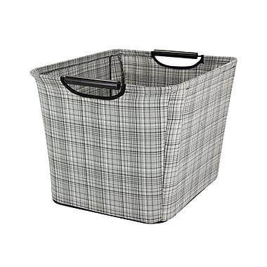 Household Essentials Medium Tapered Storage Bin with Wood Handles, Gray Plaid