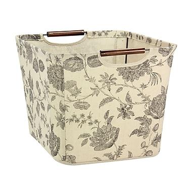 Household Essentials Medium Tapered Storage Bin with Wood Handles, Tan & Black Floral