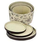 Household Essentials Hat Box Set with Faux Leather Lids, Floral (619-1)