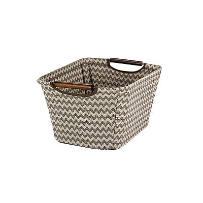 Household Essentials Tapered Storage Bin with Wood Handles, Brown Chevron