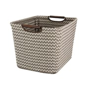 Household Essentials Medium Tapered Storage Bin with Wood Handles, Brown Chevron
