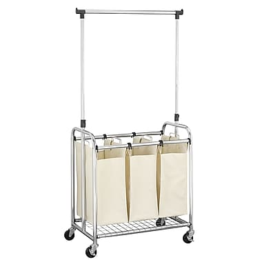 Household Essentials 3 Bag Laundry Sorter with Clothes Rack
