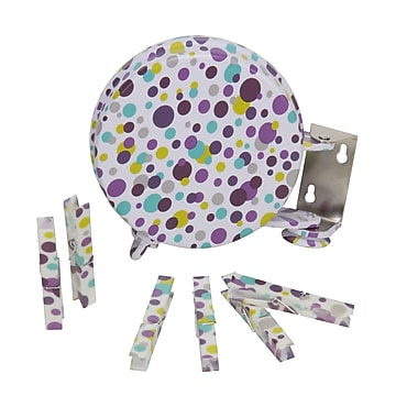 Household Essentials Single Line Retractable Clothesline with Fashion Clothespins, Purple Dot
