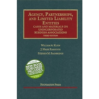 Klein, Ramseyer & Bainbridge's Agency, Partnerships, & Ltd. Liability Entities: Unincorporated Business Associations, Used Book