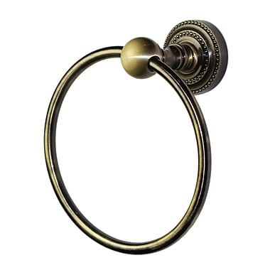 Allied Brass Dottingham Wall Mounted Single Towel Ring; Antique Brass