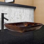 Vigo Brown and Gold Fusion Glass Rectangular Vessel Bathroom Sink; Antique Rubbed Bronze
