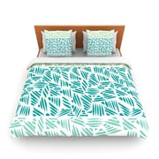 KESS InHouse Bamboo Pom Graphic Woven Duvet Cover; Queen