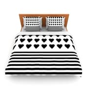 KESS InHouse Heart Stripes Black and White by Project M Woven Duvet Cover; King/California King