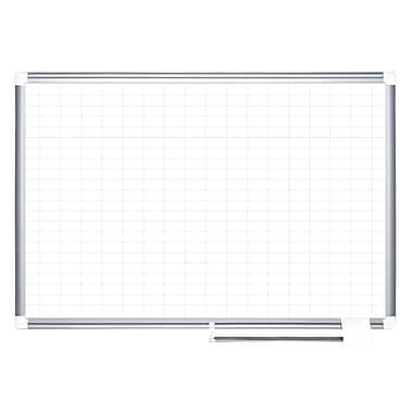 MasterVision – Tableau de planification magnétique quadrillé de 1 x 2 po, 48 pox 36 po, cadre aluminium, (MA0592830)
