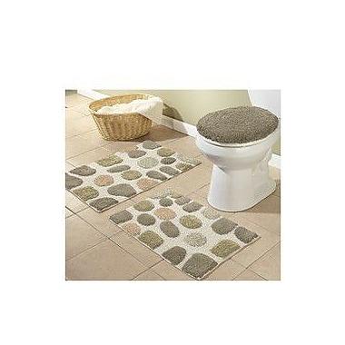 Better Trends River Rocks 3 Piece Bath Rugs Set; Khaki
