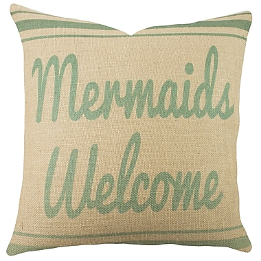 TheWatsonShop Mermaids Welcome Burlap Throw Pillow