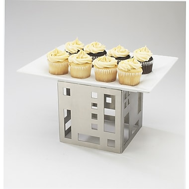 Cal-Mil Squared 5'' Cube Riser; Stainless Steel