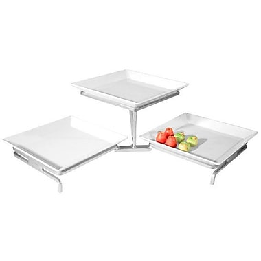 Cal-Mil 2 Tier Wire Display Stand w/ 3 Square Plates; Platinum