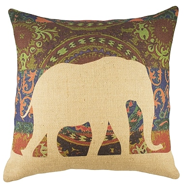 TheWatsonShop Elephant Burlap Throw Pillow