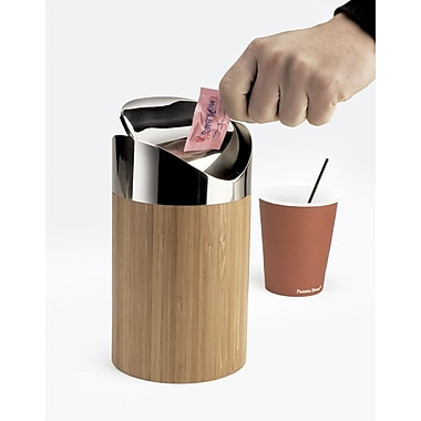 Cal-Mil Counter Receptacle Swing Top Trash Can; Bamboo