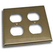 Residential Essentials Double Recep Plate; Satin Nickel