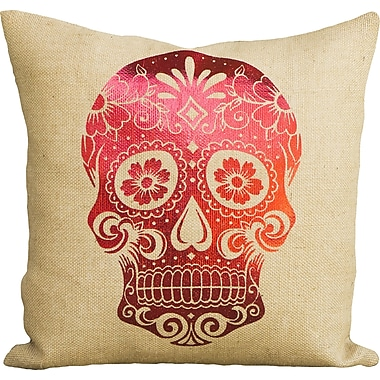 TheWatsonShop Day of the Dead Sugar Skull Burlap Throw Pillow; Red