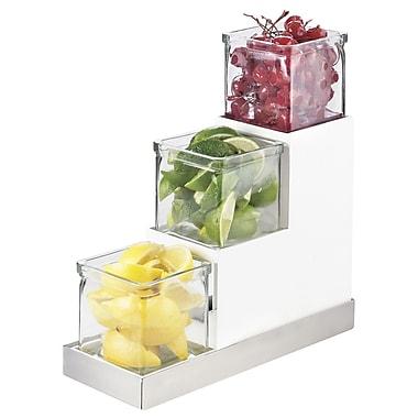 Cal-Mil Luxe 3 Step Square Standard Jar Display; Stainless Steel
