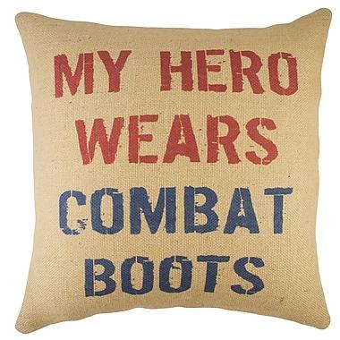 TheWatsonShop My Hero Wears Combat Boots Burlap Throw Pillow