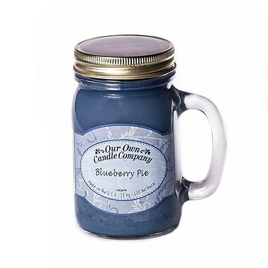 OOCC Soy-Based Mason Jar Candle, 13oz., Blueberry Pie Scent, 12/Pack