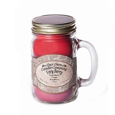 OOCC Soy-Based Mason Jar Candle, 13oz., Berry Triple Scent, 12/Pack