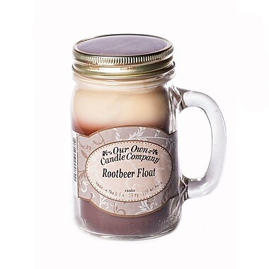 OOCC Soy-Based Mason Jar Candle, 13oz., Rootbeer Float Scent, 6/Pack