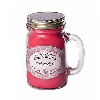 OOCC Soy-Based Mason Jar Candle, 13oz., Watermelon Scent, 12/Pack