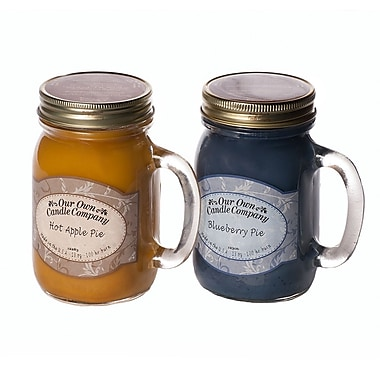 OOCC Soy-Based Mason Jar Candle, 13oz., Pie Pack Scent, 12/Pack