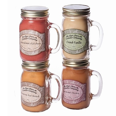 OOCC Soy-Based Mason Jar Candle, 13oz., Home Baking Scent, 4/Pack