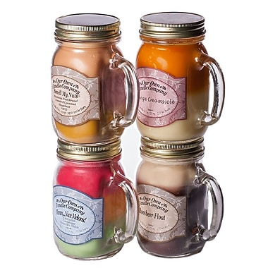 OOCC Soy-Based Mason Jar Candle, 13oz., Fun Candles Scent, 4/Pack