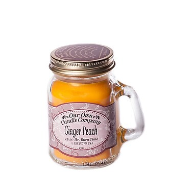 OOCC Soy-Based Mini Mason Jar Candle, Ginger Peach Scent, 12/Pack
