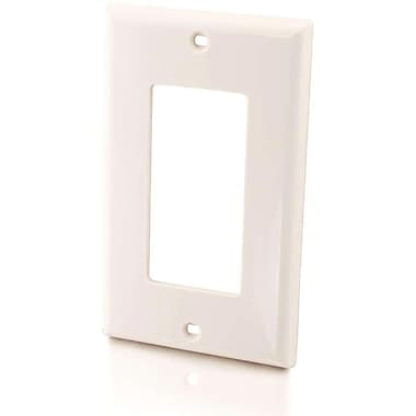 C2G 3725 Cutout Single Gang Wall Plate, White