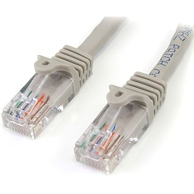 StarTech.com® 45PATCH15GR 15' Cat 5e Snagless Patch Cable, Grey
