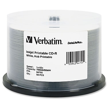 Verbatim Datalifeplus 94755 CD Recordable Media Spindle, CD-R, 52X, 700 Mb, 50/Pack