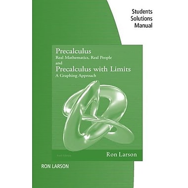 Student Study Solutions Manual for Precalculus: Real Mathematics, Real People, 6th, Used Book, (9781111572099)