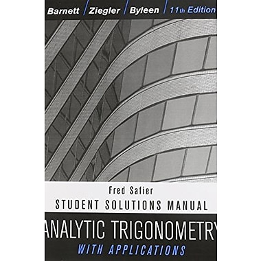 Analytic Trigonometry with Applications, Student Solutions Manual, New Book, (9781118115831)