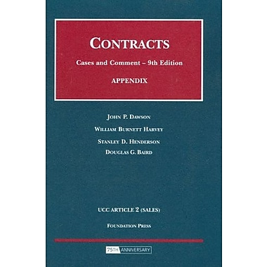 Dawson, Harvey, Henderson and Baird's Appendix to Contracts, Cases and Comments, 9th, New Book, (9781599413198)